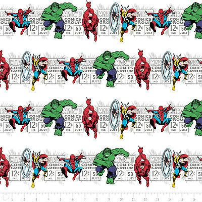 Camelot Marvel Comics Price & Hero Stripe White 100% cotton Fabric by the yard