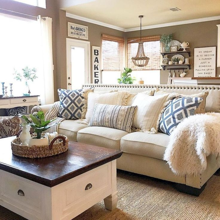 35 Gorgeous Rustic Farmhouse Living Room Decor And Design Ideas