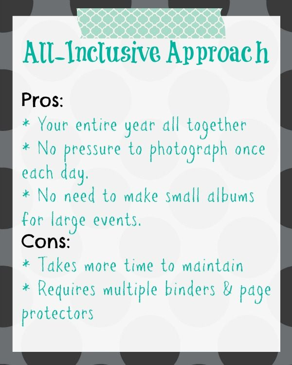 Project Life Planning - 365 approach v. All-Inclusive year approach