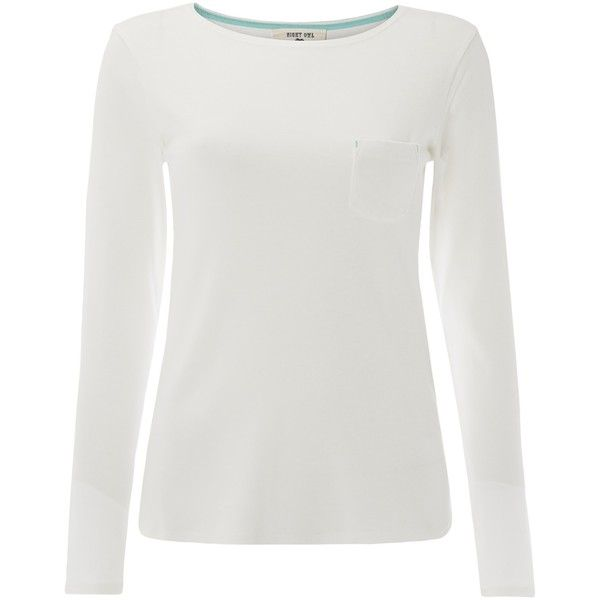 White Stuff Nightsky Ribbed Cotton Long Sleeve T-Shirt ($33) ❤ liked on Polyvore featuring tops, t-shirts, calm cream, long sleeve tops, long sleeve t shirts, white long sleeve t shirt, long sleeve tees and white top