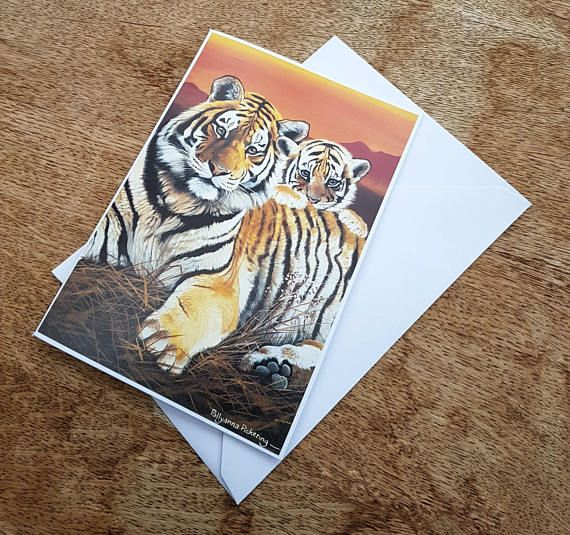 Mother's Day card, tiger mother and cub, big cat art