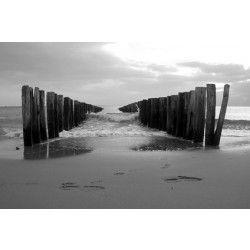 Vlies fotobehang Golvend water zwart wit
