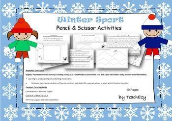 Winter Sport Pencil and Scissor