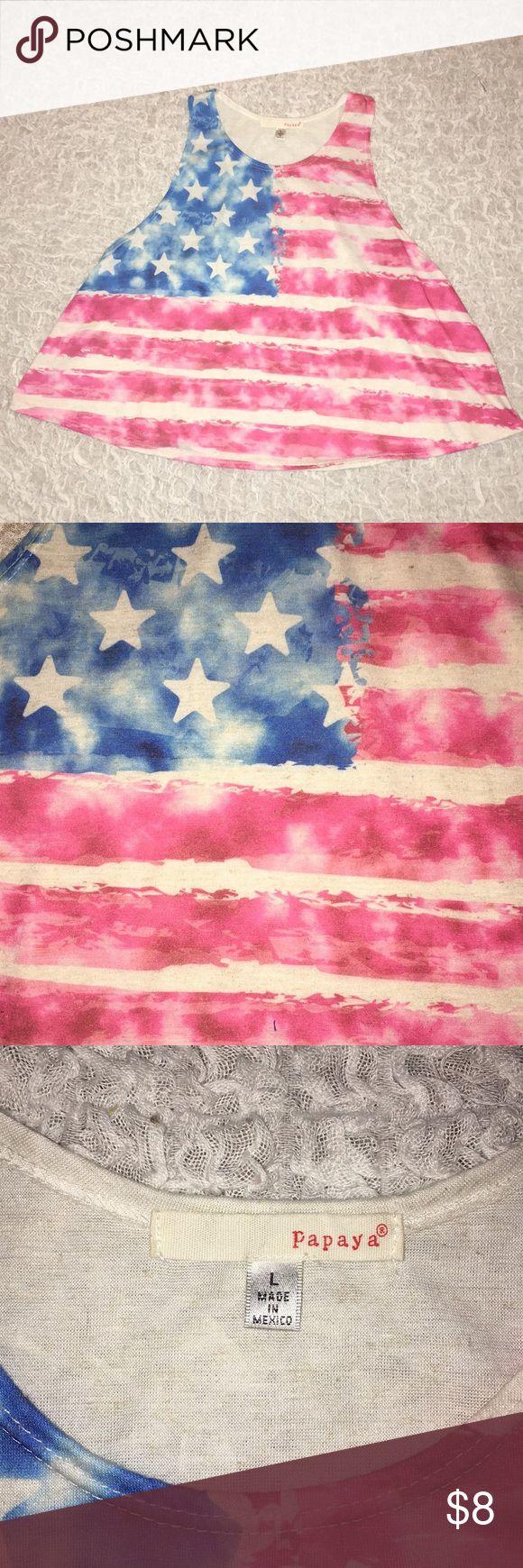 American Flag Tank Top - Papaya American Flag Tank Top - Papaya Crop Top  Large Papaya Tops Crop Tops