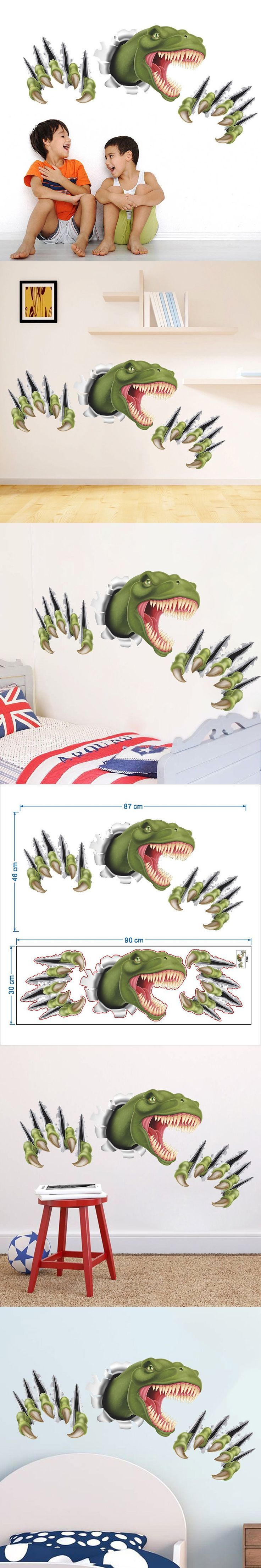 1pcs 3D Side Dinosaur Claw DIY Removable Wall Stickers Kids Bedroom Home  Decor House Decoration Wall