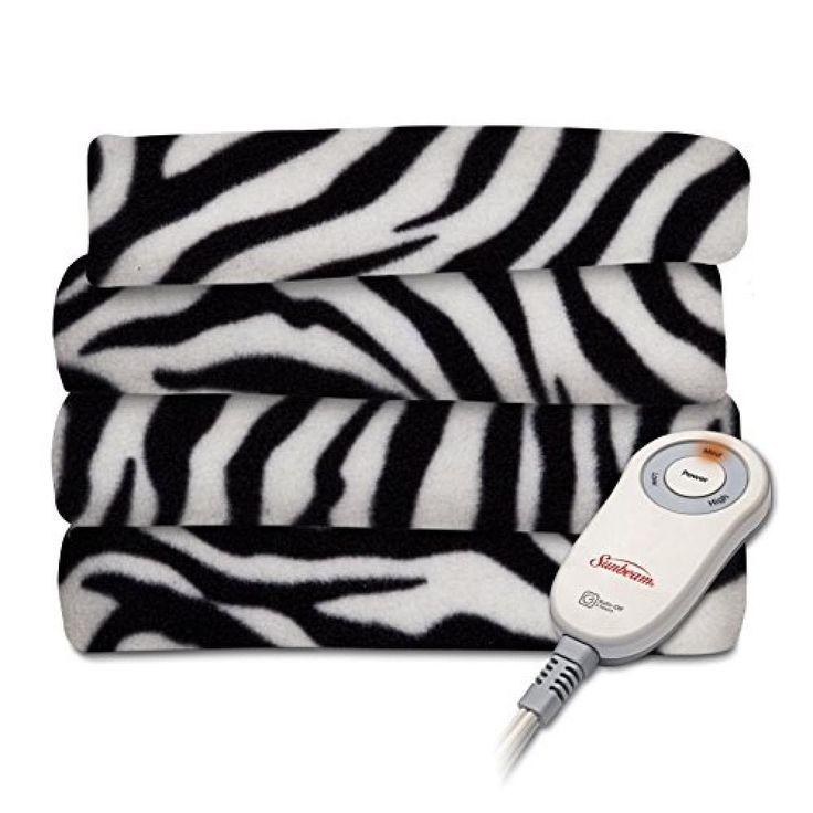 heated Throw Blanket Soft Fleece machine-washable 3-hour auto-off shutoff Zebra #Sunbeam