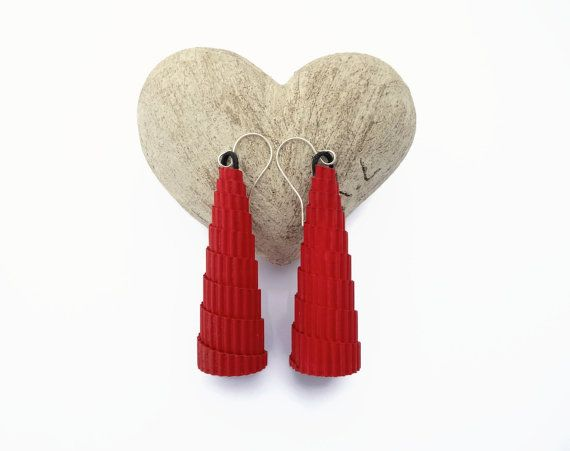 Playful red eco earrings of corrugated cardboard cone shaped for Valentines day    I made these statement earring using a corrugated cardboard and I colored