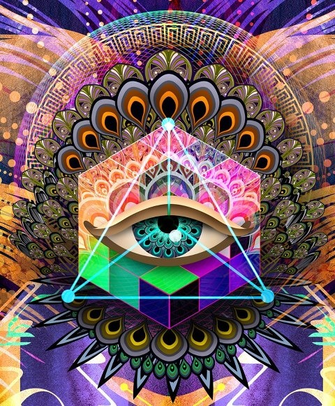 """""""Through our eyes, the universe is perceiving itself. Through our ears, the universe is listening to its harmonies. We are the witnesses through which the universe becomes conscious of its glory, of its magnificence.""""   Alan Wilson Watts - Art: Chris Saunders"""