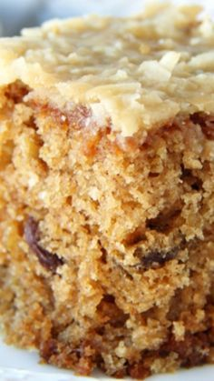 Raisin Oatmeal Sheet Cake ~ Moist, cinnamon-y and oat-y and the gooey toasted brown sugar and coconut icing is the icing on the cake…the perfect topping!