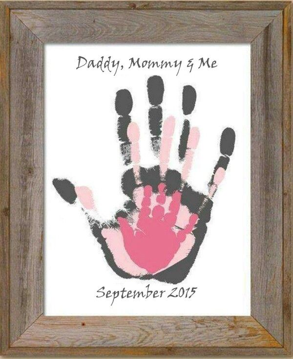Daddy mommy and baby hand print