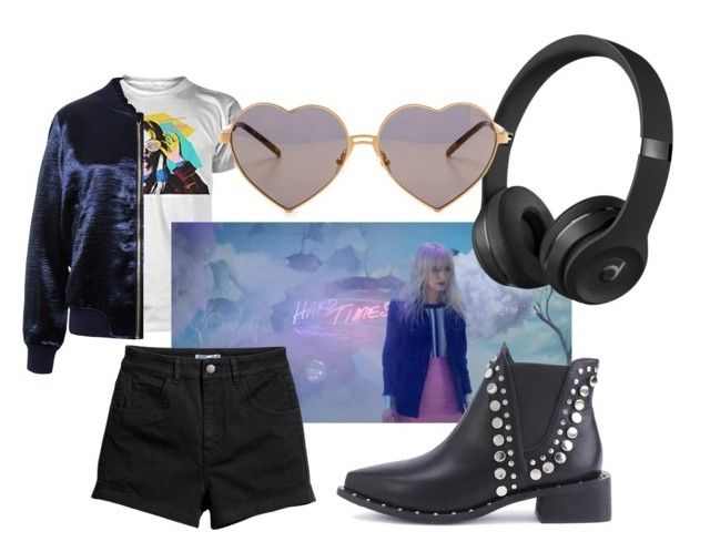 """Paramore Inspired - Hard Times Outfit"" by softoctobernight on Polyvore featuring Sans Souci, WithChic, Beats by Dr. Dre and Wildfox"
