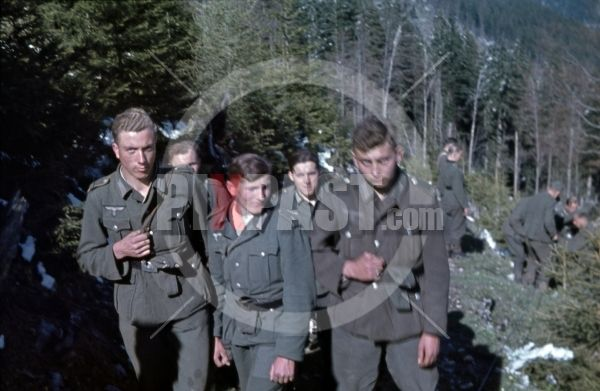 WW2 in color (farbdia) color photo slide ( agfacolor) German children in Wehrmacht uniform, Berchtesgaden Bavaria, Germany 1945, Last fight in forest.