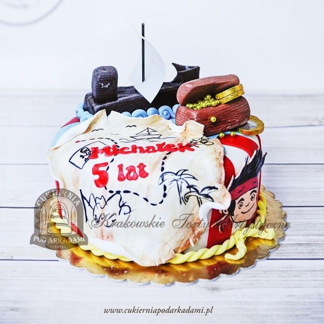 212BD Tort bajkowy - Jake i piraci z Nibylandii z okrętem, skrzynią i mapą skarbów. Jake and the Never Land Pirates cake.