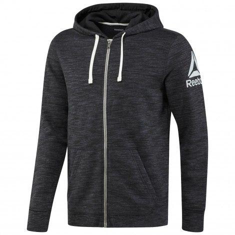 Reebok Elements Full Zip Hoodie fitness vest heren black De Wit Schijndel