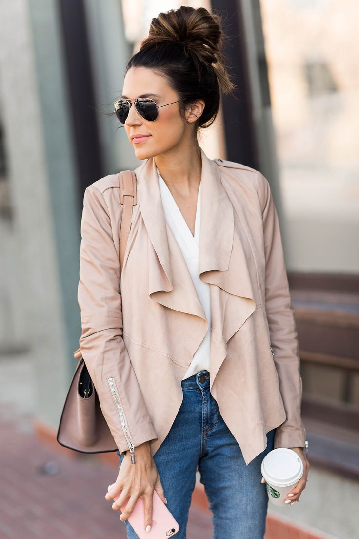 Blush Suede & Leather Jacket