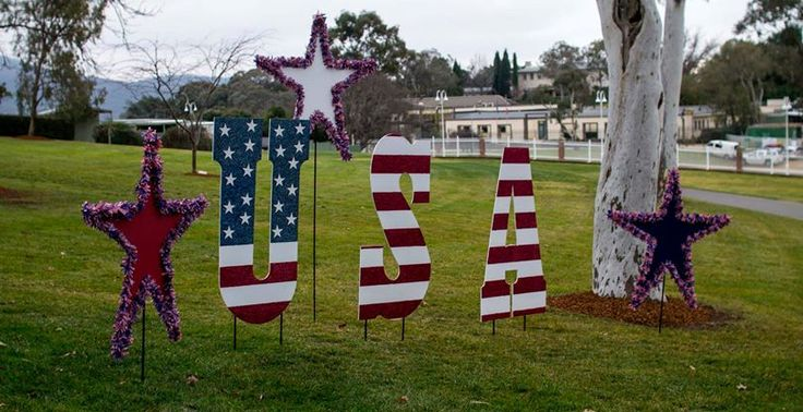 Decorations adorne the Embassy's lawn to celebrate Independence Day 2014 #July4CBR