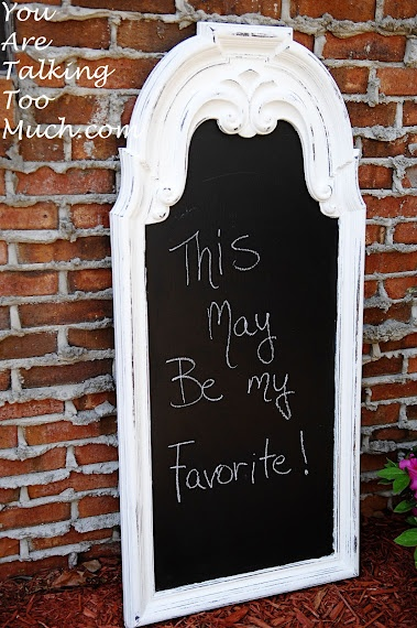What an artsy looking chalk board!  Who says kid friendly decor has to look kidish.
