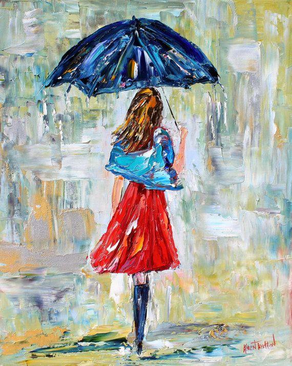 Original oil painting Rain Dance in Red by Karensfineart