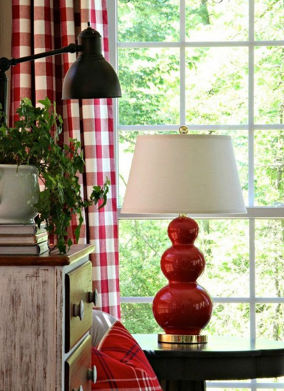 Buffalo Check Curtains In Red And White.  Small by BELLASHOMEDECOR