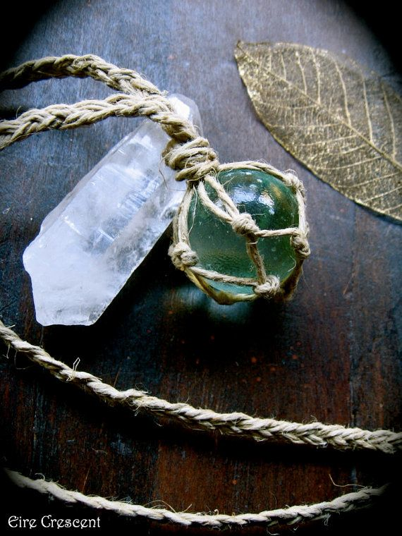 Glass *Scrying Ball* and *Raw Crystal* Necklace <3