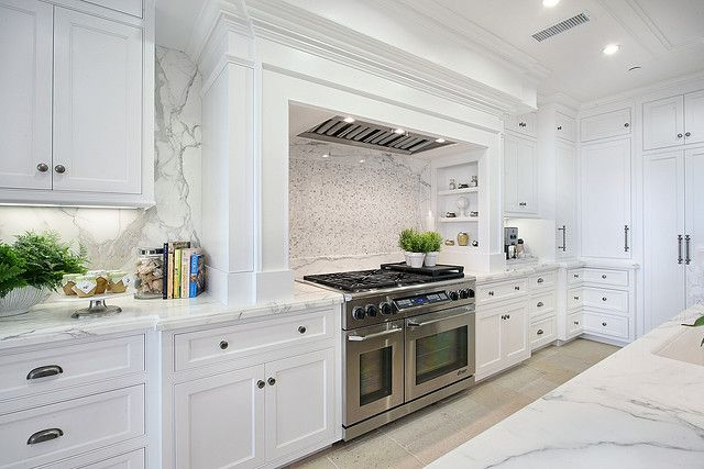 Cabinetry, range nook, marble