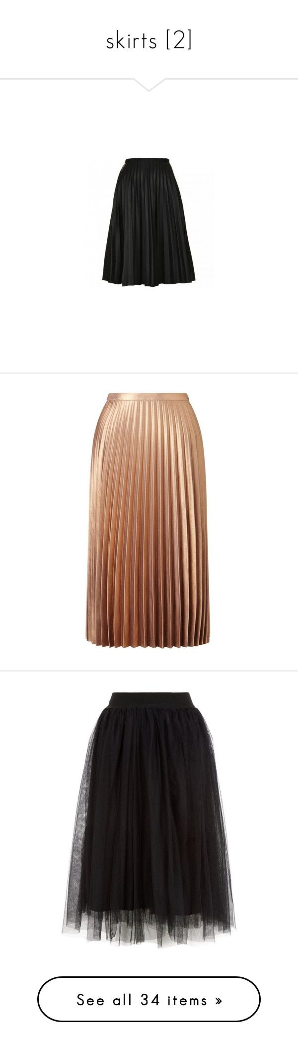 """skirts [2]"" by nikki-usmc92 ❤ liked on Polyvore featuring skirts, saia, mid calf skirts, calf length skirts, pleated skirt, topshop skirts, pleated midi skirts, bottoms, saias and metallic"