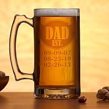 Father's Day Gift Idea: Established Oversized Beer Mug. $19.99 at personalcreations.com