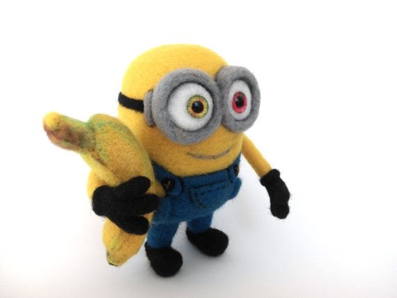 Naald vilten minion Bob met een banaan Gevilte sculptuur, Minions, interieur…