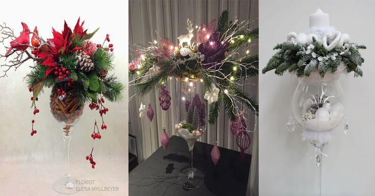 arreglos navideños con copas de cristal