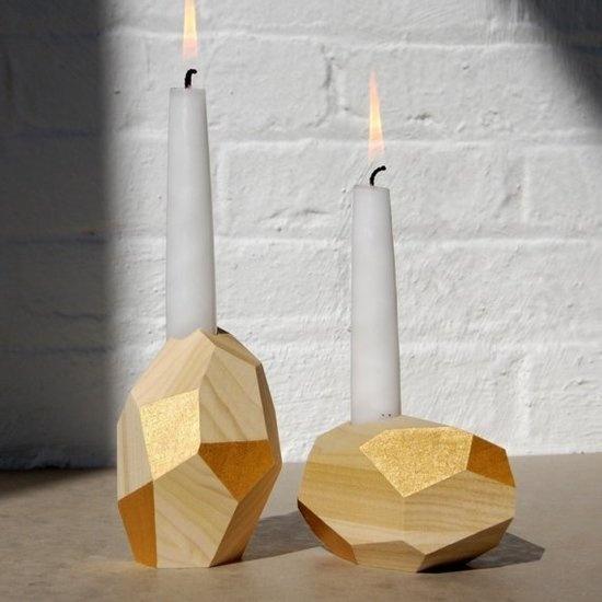 24k gold leaf candleholders