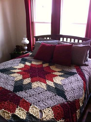 """Crocheted Prairie Star """"Quilt"""" by Marilyn Coleman and Mary Jane Protus. Free pattern."""