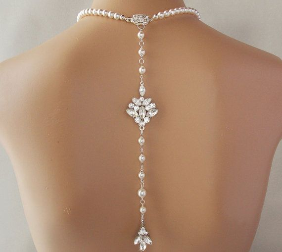 Backdrop Necklace Wedding Necklace Crystal by AmbrosiaBridal