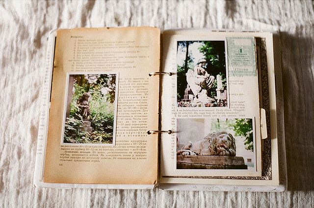 photo album on old book pages - yeah, of course I like it... Be really cute at a wedding for people to look through