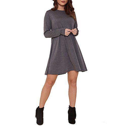 British Womens Plain Swing Dress Ladies Flared Stretch Top Tunic Plus Size #British #UK #PlusSize #FashionBug #Dress
