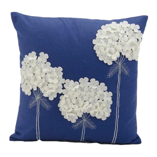 Add a dash of garden-inspired style to your home decor with this charming accent pillow by Nourison. A Mina Victory design, this bright blue felt pillow features a raised white floral pattern that will add chic color to your bedroom or living area.