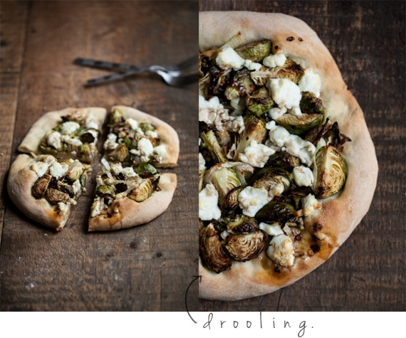 roasted brussles sprouts + goat cheese pizza = drool-worthy literally ...