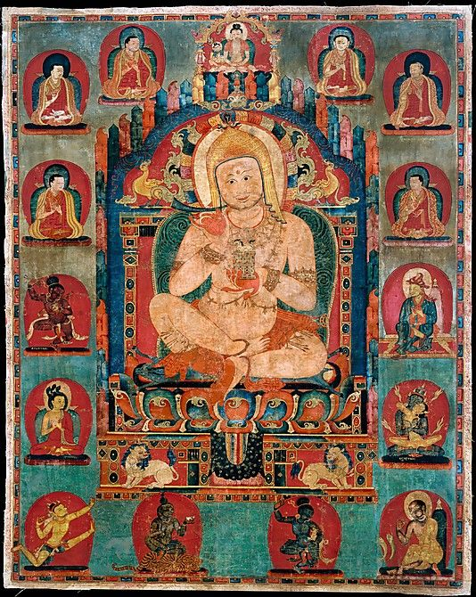 """This portrait was created for the Riwoche Monastery in eastern Tibet, a branch of the Taklung Monastery, and is intended to invoke the spiritual lineage of the two monasteries. The central figure is not directly named; however, the name Jnanatapa, denoting a famous Indian mahasiddha (a """"great perfected one,"""" one of the spiritual fathers of Tantric Buddhism), appears on a veil attached to the painting, and the deity presiding above the central figure is identified as Avagarbha"""