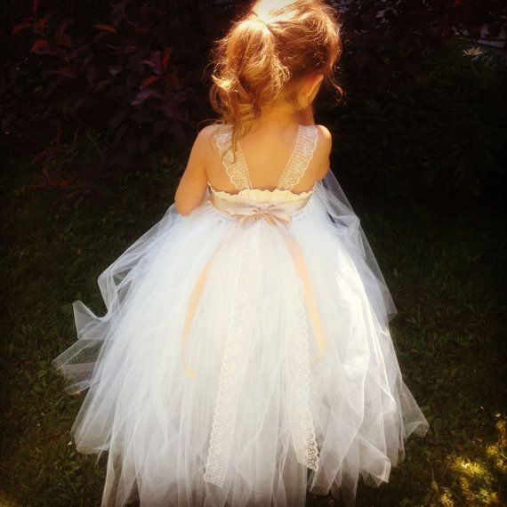 Cute Tulle Flower Girl Dress- Cream and Ivory- Lace-Satin-Cotton-- Wedding- Flower Girl- Formal- Photo Prop