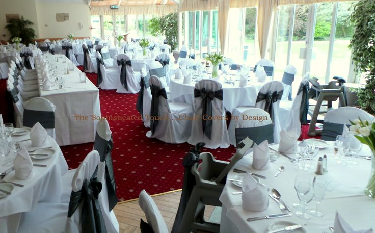 Silver Satin Bows on White Chair Covers    The Sophisticated Touch ...Chair Covers by Design