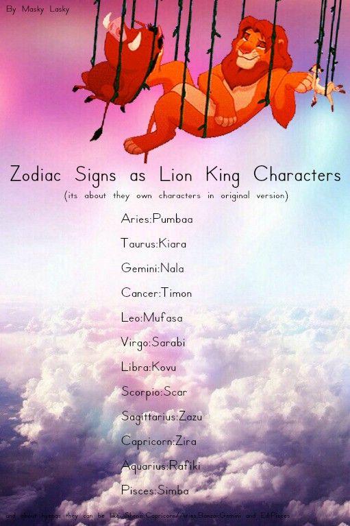 zodiac signs as lion king characters astrology by masky lasky simba,pumbaa,timon,nala,rafiki,mufasa,zazu,kovu...aries,taurus,gemini,cancer,leo,virgo,libra,scorpio,sagittarius,capricorn,aquarius,pisces...horscope tumblr