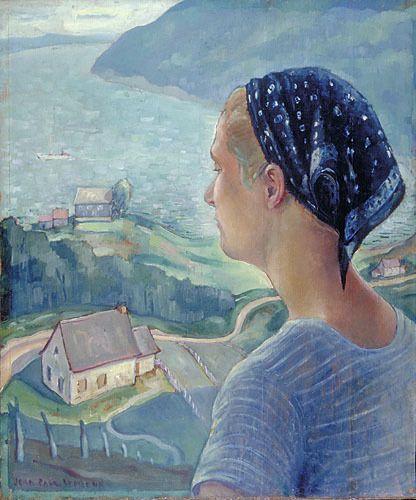 "Lemieux painted ""Those Beautiful Days"" (Les beaux jours, 1937, Musée national des beaux-arts du Québec) at Port-au-Persil, between La Malbaie and Saint-Siméon, where he and his young wife, Madeleine Des Rosiers, spent the summer of 1937. #ArtCanInstitute"
