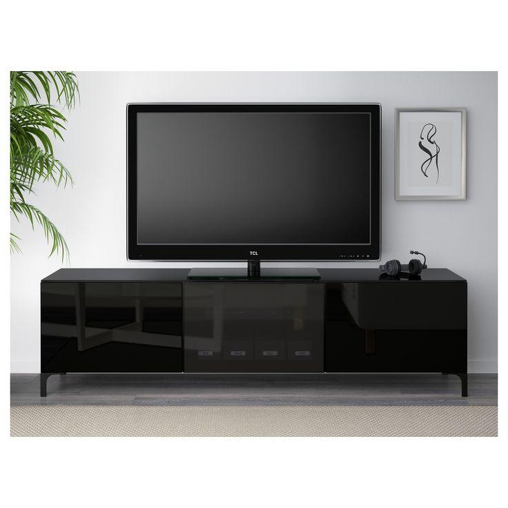 best tv unit with doors blackbrown selsviken high glossblack smoked glass