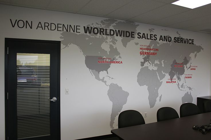 Wall decal in the conference room at Von Ardenne highlights their global presence.