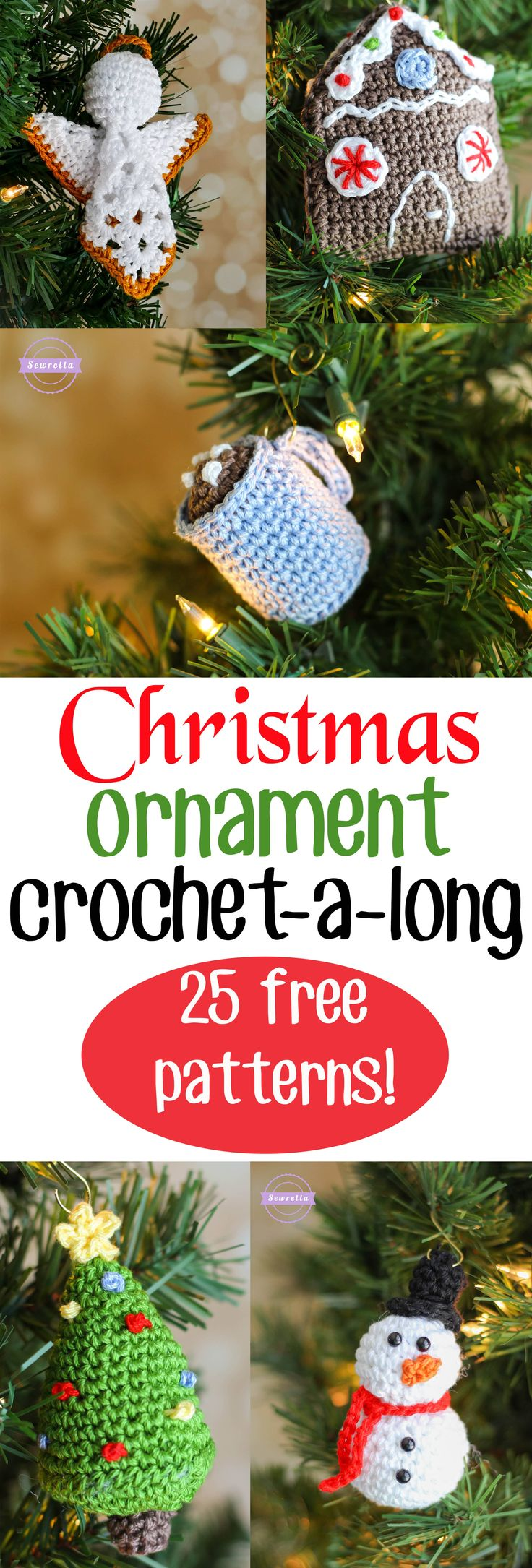 Superschattige Kerst Ornamentjes om je boom en huis te versieren.25 Days of Christmas Traditions Ornament CAL | 25 FREE Crochet Patterns from Sewrella