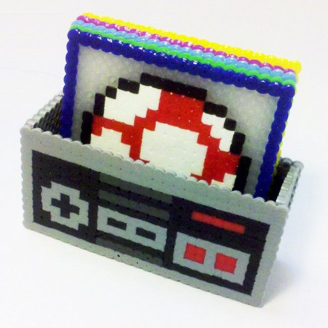 Perler beads are perfect for old school Mario crafts.  Mario Items Coaster Set. $20.00, via Etsy.