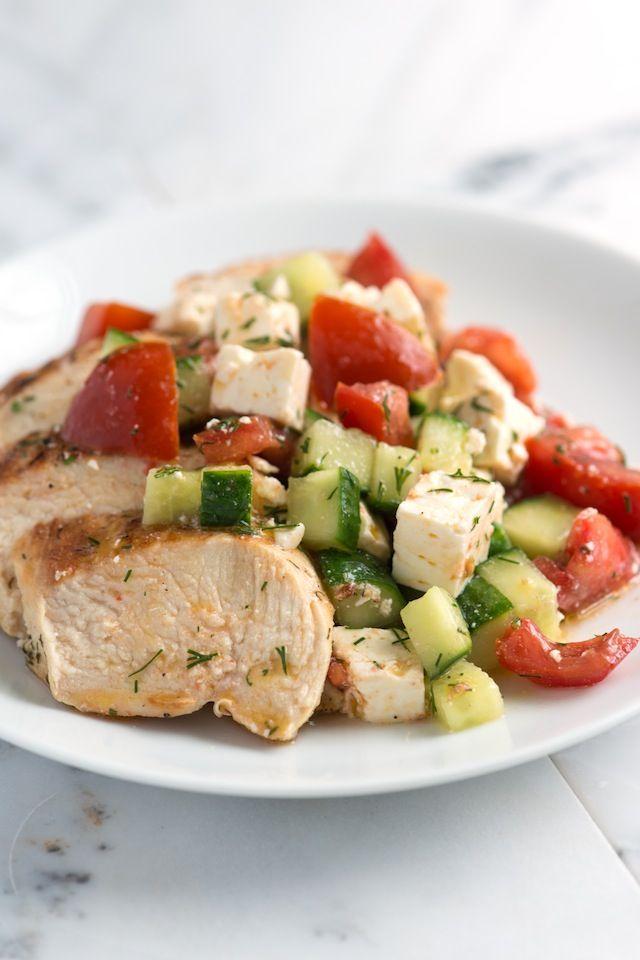 Lemony Chicken Breast Recipe with Cucumber Feta Salad from www.inspiredtaste.net #chicken #recipe