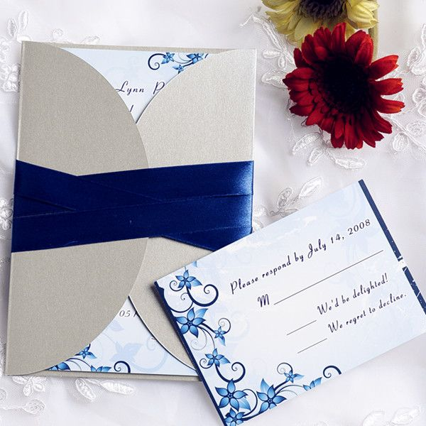 blue floral wedding invitations with gray pocket and blue ribbon EWPI096 as low as $1.69