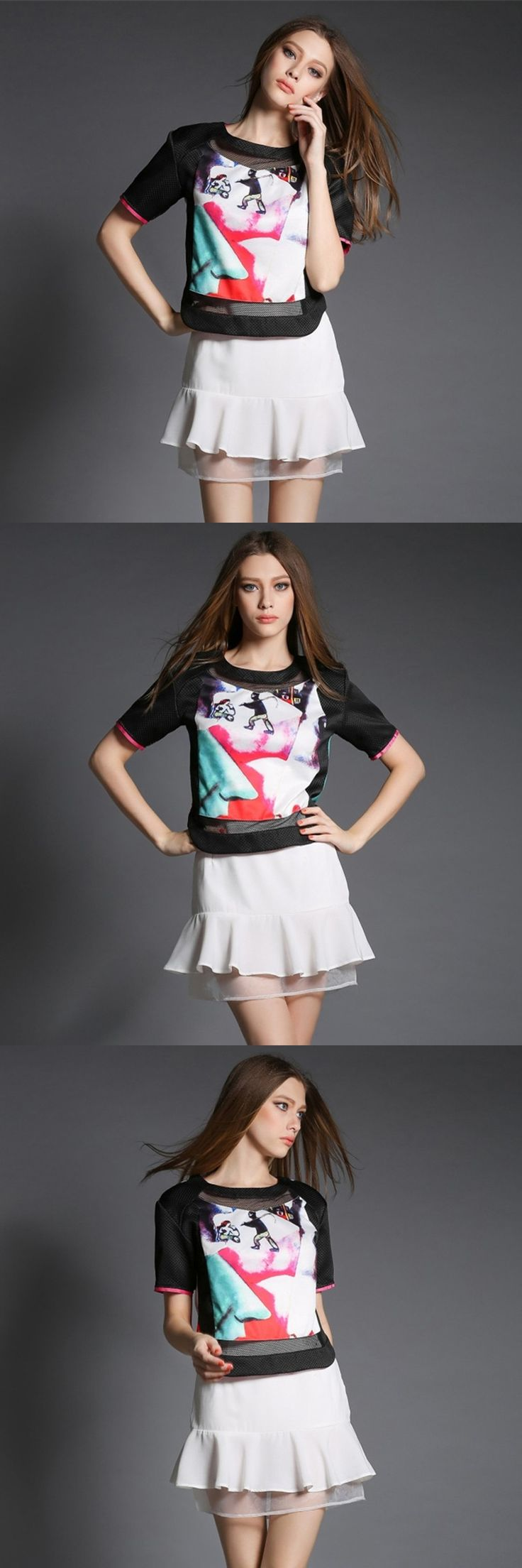 2015 New Arrival Name Brand Casual Printed Short Sleeves Top + mini Mermaid skirt Fashion patchwork Twinset Suit For Women OM357