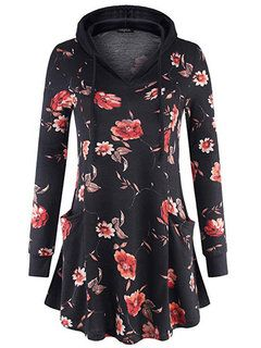 Hot-sale Casual Flower Print Plus Size Hoodies for Women - NewChic 11