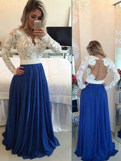 V-neck Lace Chiffon with Pearl Detailing Floor-length Long Sleeve New Prom Dress #Milly020101388